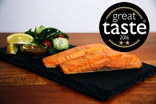 180 gram pack of two fillets of hot smoked salmon