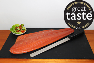 Unsliced whole side of cold smoked sea trout