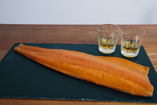 Unsliced whole side of cold peat smoked salmon