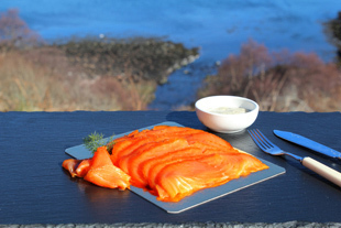 180 gram pack of hand sliced cold peat smoked salmon